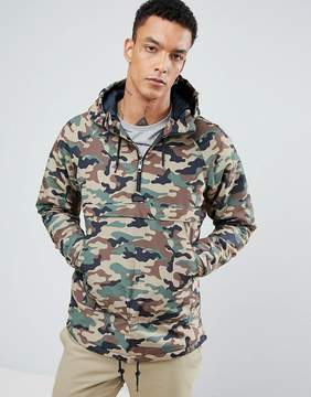 Pull&Bear Overhead Half Zip Padded Jacket In Camo