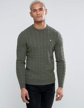 Jack Wills Marlow Merino Cable Knit Crew Neck Sweater In Olive