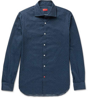 Isaia Slim-Fit Printed Brushed Cotton-Twill Shirt