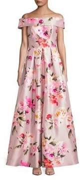 Eliza J Off-Shoulder Foldover Floral A-Line Gown