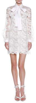 Francesco Scognamiglio Long-Sleeve Tie-Neck Floral Lace Minidress, White