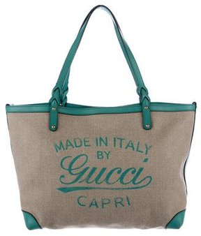 Gucci Leather-Trimmed Canvas Tote - GREEN - STYLE
