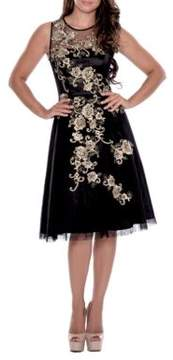 Decode 1.8 Metallic Flower Illusion Dress