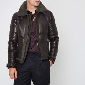 River Island Mens Dark brown faux shearling aviator jacket