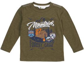 Petit Lem Boy's Mountains Long-Sleeve Knit Shirt, Khaki, Size 2-6x