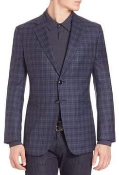 Armani Collezioni Tonal Plaid Wool Jacket