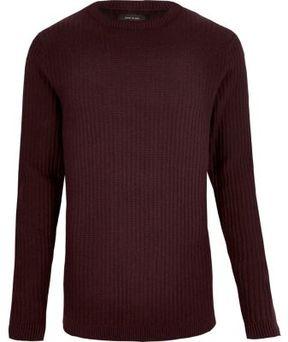 River Island Mens Burgundy ribbed slim fit long sleeve T-shirt