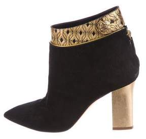 Pollini Metallic Suede Ankle Booties
