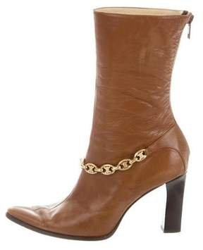 Celine Leather Chain-Link Ankle Boots