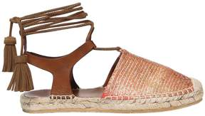 Etro 20mm Tassels Leather D'orsay Espadrilles