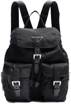 PRADA Small leather-trimmed nylon backpack