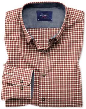 Charles Tyrwhitt Slim Fit Button-Down Soft Cotton Rust Multi Check Casual Shirt Single Cuff Size XS