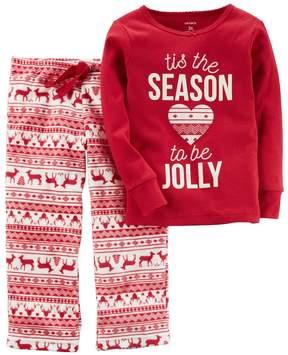 Carter's Girls 4-14 Tis the Season to be Jolly Christmas Top & Microfleece Bottoms Pajama Set