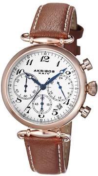 Akribos XXIV Akribos White Dial Chronograph Gold Tone Steel Brown Leather Ladies Watch