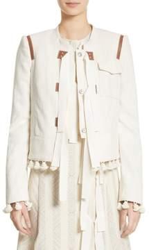 Altuzarra Grosgrain Tie Leather Trim Jacket