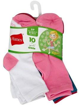Hanes Ankle Socks, 10 Pairs (Little Girls & Big Girls)