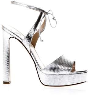 Francesco Russo Silver Snake Effect Sandals