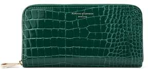 Aspinal of London Continental Clutch Zip Wallet In Evergreen Patent Croc