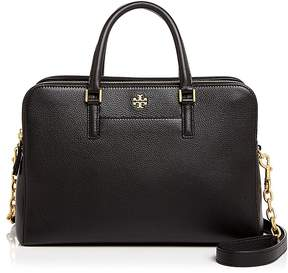 Tory Burch Georgia Double Zip Pebbled Leather Satchel - BLACK/GOLD - STYLE