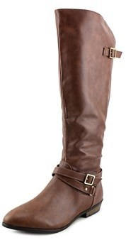 Material Girl Capri Women Round Toe Synthetic Brown Knee High Boot.