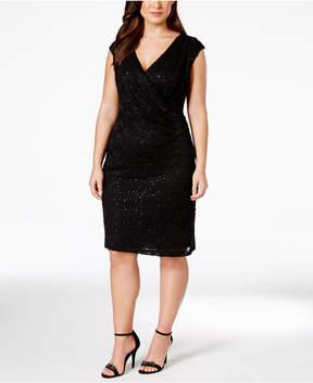 Connected Plus Size Cap-Sleeve Sequin Lace Dress