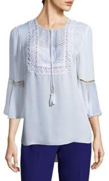 Elie Tahari Charlie Embellished Silk Blouse