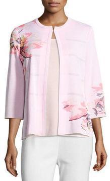 Misook 3/4-Sleeve Floral-Print Open Jacket, Pink, Plus Size