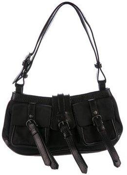 Burberry Leather-Trimmed Shoulder Bag - BLACK - STYLE