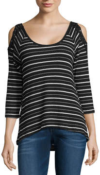 Almost Famous 3/4 Sleeve Stripe T-Shirt-Womens Juniors