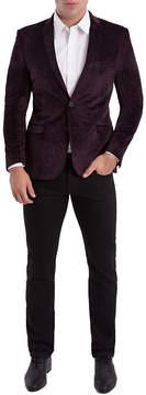 Asstd National Brand Nick Graham Burgundy Paisley Woven Sport Coat Slim Fit