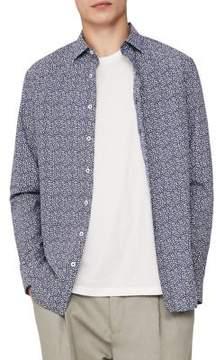 MANGO Micro Print Cotton Button-Down Shirt