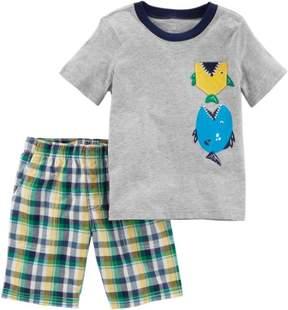 Carter's Toddler Boys Plaid Fish Shorts Set