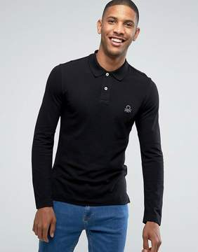 Benetton Muscle Fit Long Sleeve Polo Shirt In Black