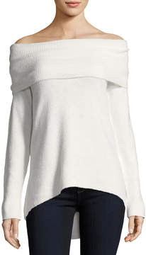 Neiman Marcus Off-Shoulder Sweater with Arched Hem