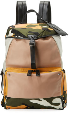 Valentino Colorblock Camouflage Rockstud Backpack