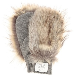 Stella McCartney Faux fur-trimmed wool mittens