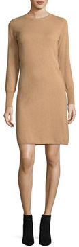 Neiman Marcus Long-Sleeve Crewneck Cashmere Dress