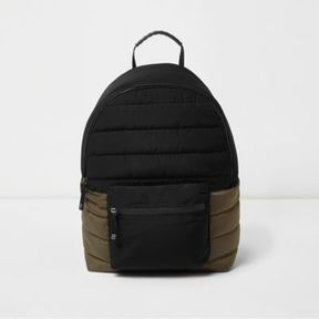 River Island Boys black and khaki block quilted backpack