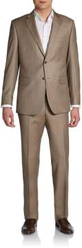 Saks Fifth Avenue BLACK Men's Slim-Fit Sharkskin Wool Two-Button Suit