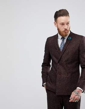 Asos Skinny Double Breasted Suit Jacket In Wine Flecked Wool Blend