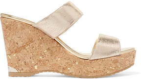Jimmy Choo Parker 100 Metallic Textured-leather Wedge Sandals - Gold