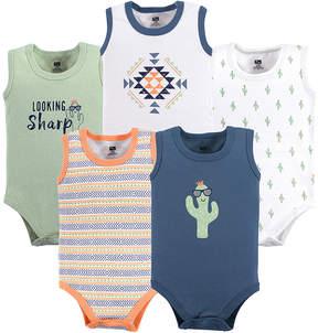 Hudson Baby Sage & Blue Cactus Sleeveless Bodysuit Set - Newborn & Infant