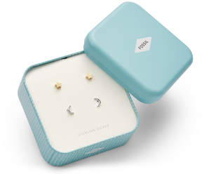 Fossil Sterling Silver Star and Crescent Moon Duo Studs