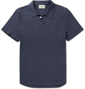 Oliver Spencer Hawthorn Slim-Fit Mélange Cotton-Jersey Polo Shirt