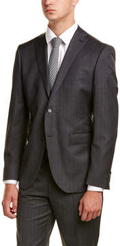 Zanetti Luca Slim Fit Wool Suit With Flat Pant