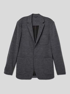 Frank and Oak Wool-Blend Ottoman-Knit Blazer in Carbon Grey