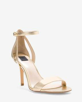 White House Black Market Gold Strappy Mid-Heel Sandals