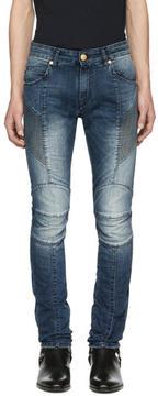 Pierre Balmain Blue Faded Biker Jeans