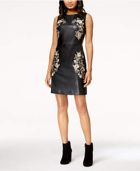 Bar III Embroidered Faux Leather Dress
