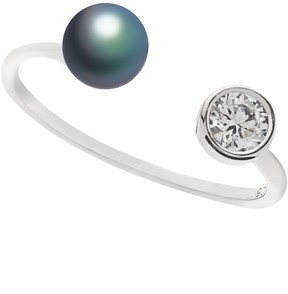 Crislu 5mm Black Pearl & CZ Open Band Ring